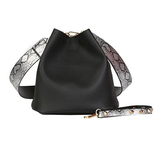 Vbiger Bolso elegante de cuero del bolso de hombro de la PU de las mujeres 2 en 1 Negro