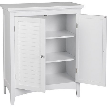 with 2 Shutter Doors and 2 Adjustable Interior Shelves Made Wood, Medium Density Fiberboard in White Finish 13.00