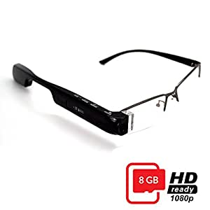 DigiOptix 8GB Smart Glasses 1080P HD Camera Video Glasses Bluetooth for Smart Phone Hand-free Phone Answer/Call Music Function