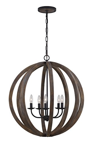 Feiss F2936/5WOW/AF Allier 5-Light Large Pendant, Weather Oak Wood/Antique Forged Iron (Forged Iron 5 Light Chandelier)