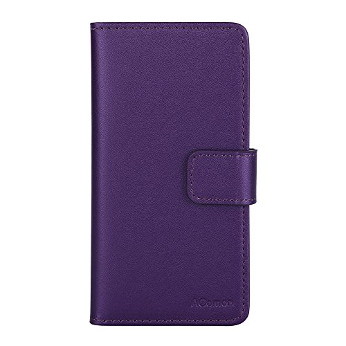 iPhone 6s Case, AComon Handmade Classic Leather Folio Flip ID Credit Card Slots Magnetic Closure Stand Wallet Book Cover Case for iPhone 6/6s, Purple