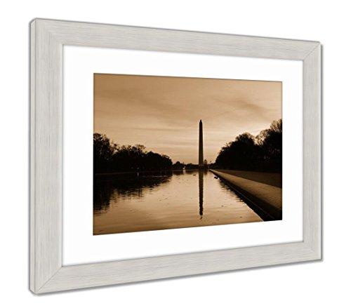Ashley Framed Prints Washington D C Sunrise Lincoln Memorial Silhouettes Capitol, Wall Art Home Decoration, Sepia, 30x35 (Frame Size), Silver Frame, AG5513479