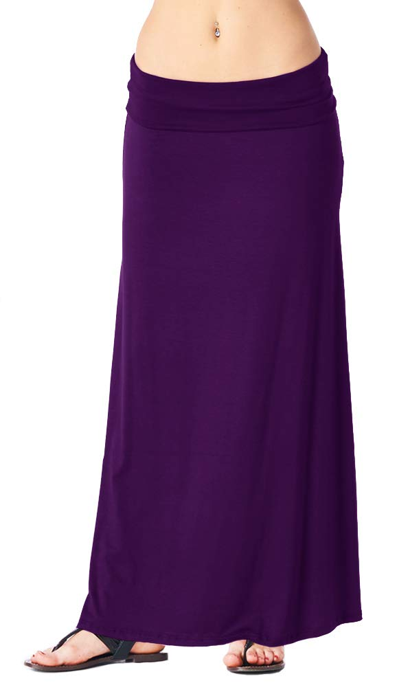 Popana Womens Casual Long Convertible Maxi Skirt Plus Size - Made In USA Eggplant 1X