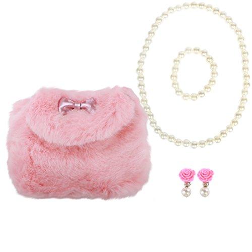 (kilofly Little Girls Plush Purse Handbag Shoulder Bags + Faux Pearl Jewelry Set)