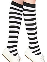 Women's Extra Long Opaque Striped Over Knee Thigh High Stockings Socks