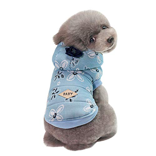 Futemo Pet Hoodie Jacket Fashion Pet Coats Supplies Clothes Outfits for Small Dog Cat Puppy Winter Apparels (S, Sky Blue)