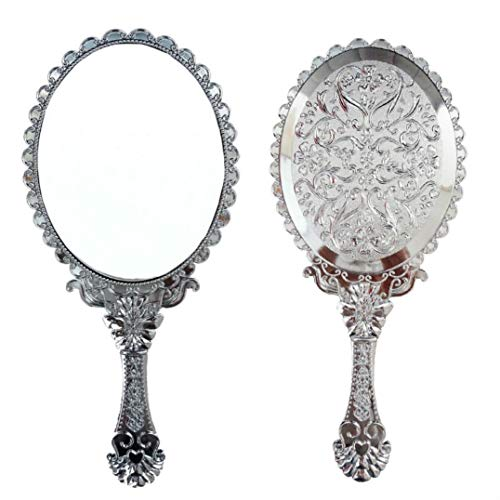 - Ohraina Decorative Vintage Style Rose Embossed Oval Silver Tarnish Free Hand Held Vanity Mirror (Silver)