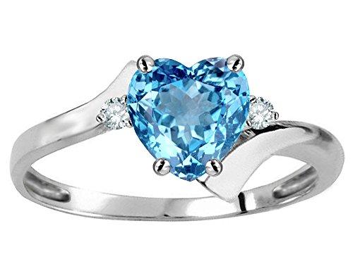 Star K Heart Shape 6mm Genuine Blue Topaz bypass Ring 10 kt White Gold Size 8