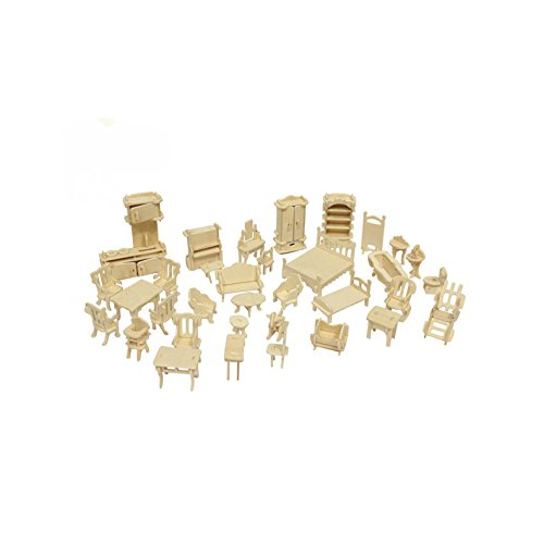 Wooden 3D Jigsaw Puzzle DIY Scale Miniature Models Doll House Dollhouse Furnitures Set Accessories ()