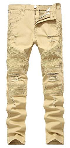 Hombres Los Skinny Delgados Elásticos Pantalones De Fashion Vaqueros Los Hombres Ajustados Lannister Destruidos Ajustados Vaqueros De Pantalones Pantalones Vaqueros Pantalones Delgados Khaki1 RZaqxwn0z