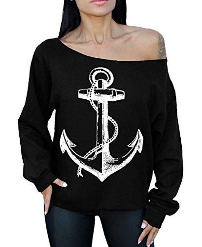Awkwardstyles Anchor White Off The Shoulder Oversized Sweatshirt Marine Sailor M Black ()