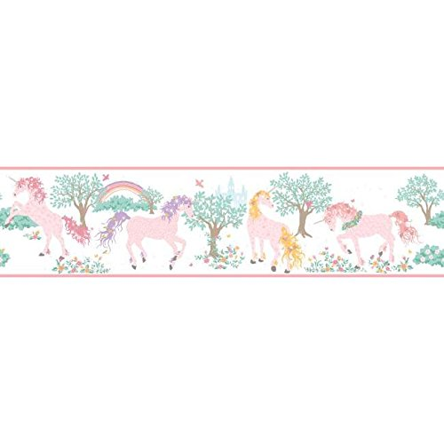 Wallpaper Border Magic Unicorn Pearlized Pink Lavender Brown Teal Cream (Pearlized Border)