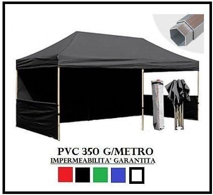RAY BOT - Cenador plegable de aluminio negro hexagonal 40 mm 3X6 + 4 lonas laterales de PVC 350 g metro: Amazon.es: Jardín