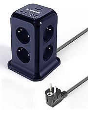 SAFEMORE Stekkerdoos, 8-Voudige Stekkertoren , Meervoudige Stekkerdoos met 2 USB-Laadpoorten en 2 USB-C-Laadpoorten ,1,8 m Kabel , Overspanningsbeveiliging en Kortsluitbeveiliging, blauw
