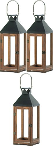 "[3 Large Brown Wood & Metal 20"" Tall Candle Holder Lantern Light Terrace Outdoor] (Terrace 3 Light Pendant)"