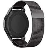 Black,Stainless Steel Bracelet Strap For Samsung Gear S3 Milanese Loop Watchband