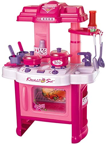 PowerTRC Deluxe Beauty Kitchen Appliance Cooking Play Set 24 | Pink with Light & Sound | Portable Toy Kitchen for A Little Chef