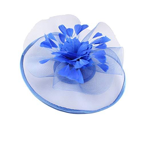 KRASTAL Fascinators for Women DIY Church Halloween Hats Feather Flower Hair Accessories Hair Clips Royal Blue ()