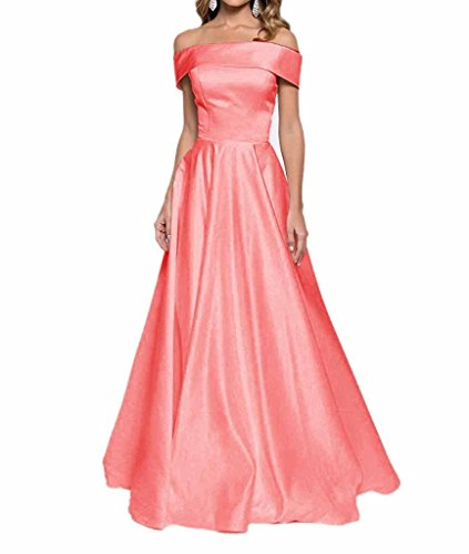 Line Shoulder Bridesmaid Long Prom Changuan A The Strapless Women's Evening Off Dress Gown Watermelon tqx0w4MaRw