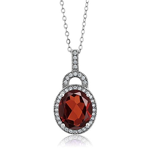 Gem Stone King Red Garnet 925 Sterling Silver Pendant Necklace 5.60 Ct Oval Gemstone Birthstone with 18 Inch Silver Chain