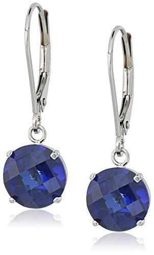 10k White Gold Round Checkerboard Cut Created Blue Sapphire Leverback Earrings (8mm) (Earrings Dangling Cut Sapphire)