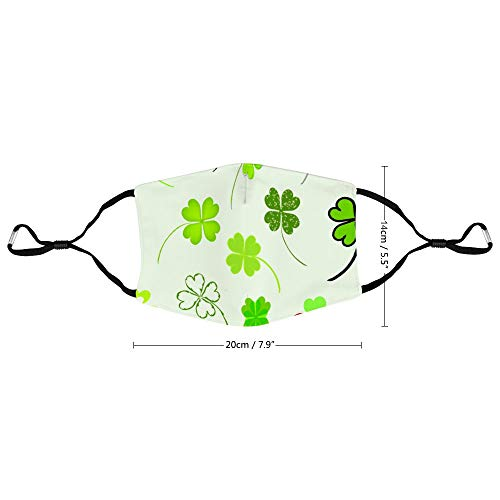 Green Clover Pattern Unisex Adjustable Earloop Face Mask, Anti-dust Mouth Mask, Washable and Reusable Protection Mask