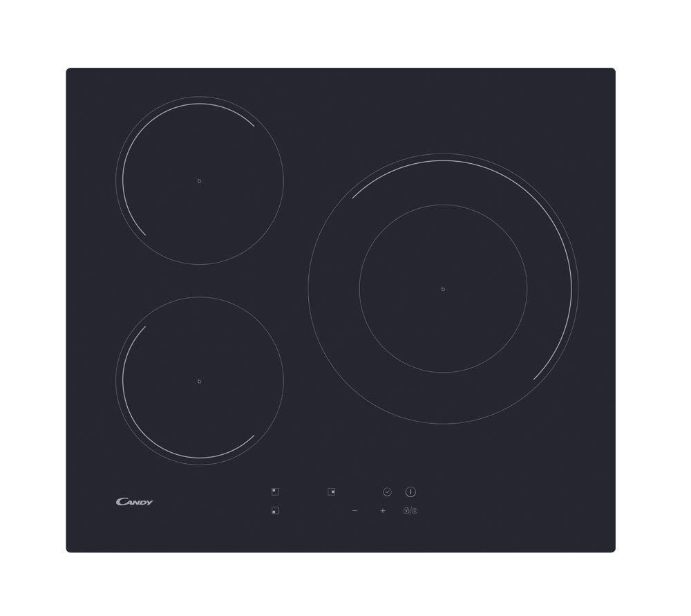 CANDY CID 633C Encimera inducción 60CM, Negro, 590x520x60
