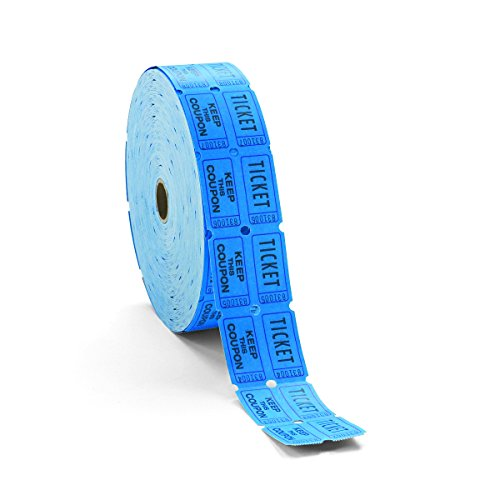 Roll Raffle Tickets - PM Company 59004 Consecutively Numbered Double Ticket Roll, Blue, 2000 Tickets per Roll