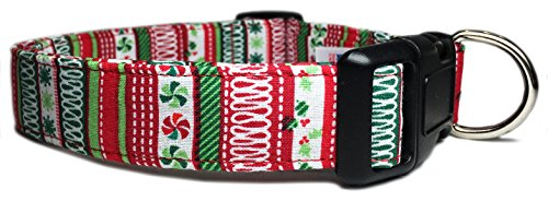 - Adjustable Dog Collar with Christmas Candy, Holly, and Stripes (U.S.A. Made)