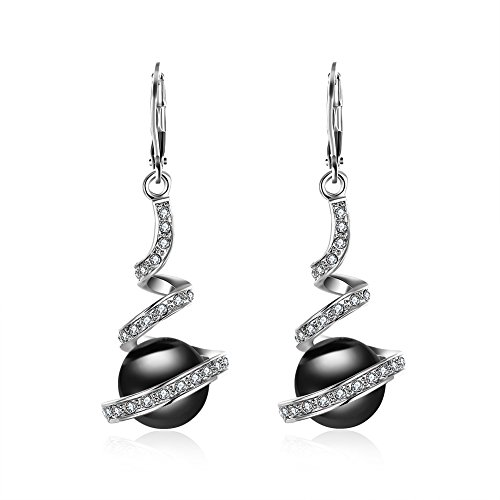 Black Pearl Dangle Earrings - Rakumi Pearl Dangling Earrings 10mm Black Seashell Pearl Dangle Earrings Spiral