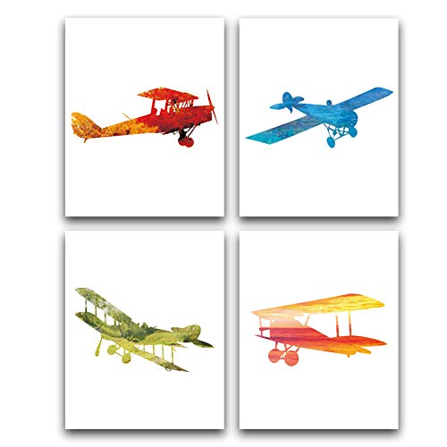(Unframed Flying Airplane Art Print Modern Watercolor Biplane Art Set of 4(8''x10'') Canvas Abstract Aircraft Picture for Boys Bedroom Nursery Wall Art Home Decor)