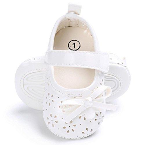 Zapatos de Bebé,SMARTLADY Princesa zapatos bebé con suela para 0- 8 mese Niñas Bebé Blanco