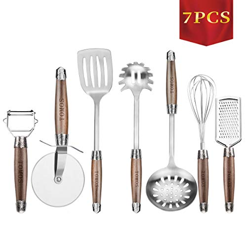 (Kitchen Utensil Set 7 pieces Cooking Gadgets Kitchenware Tomos Stainless Steel Cookware Tool with Non Slip Wooden Handle Slotted Turner Whisk Spaghetti Server Grater Peeler Pizza Cutter Skimmer)