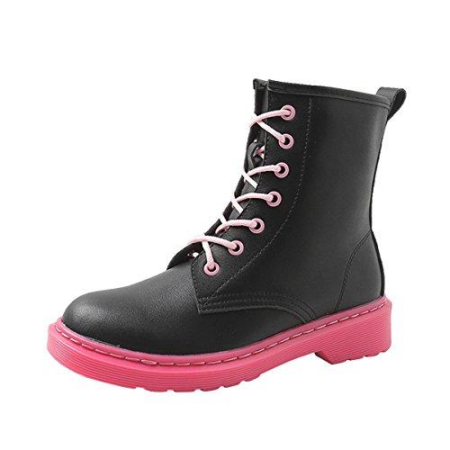 VFDB Womens Heel Motorcycle Boots Platform Waterproof Lace-up Short Ankle Booties US 9