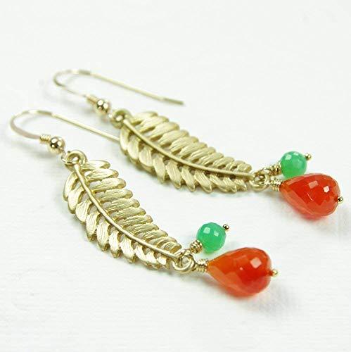Leaf Earrings Orange Carnelian Green Chrysoprase Gemstone 14kt Gold Filled