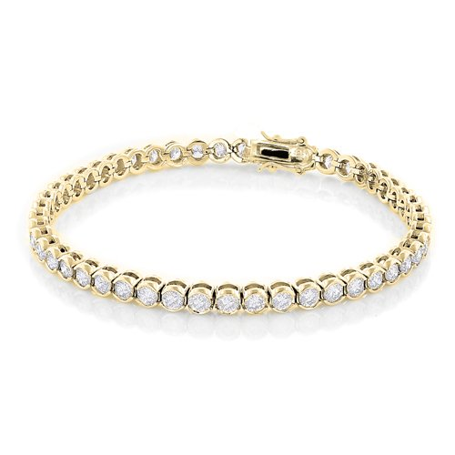 Cate & Chloe Joelle 18k Gold CZ Tennis Bracelets for Women, Fancy Cubic Zirconia 7.5 Simulated Diamond Bracelet with Round Cut Crystals, Best Special Occassion Jewelry for Wedding, Gifts