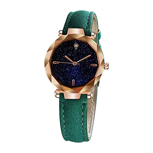 YEZIJIN Simple and Stylish Luxurious Starry Dial Convex Mirror Leather Strap Watch 2019 Best New Clearance! Under 10 Dollars