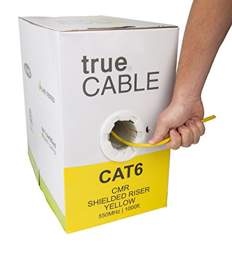 Cat6 Shielded Riser (CMR), 1000ft, Yellow, 23AWG Solid Bare Copper, 550MHz, ETL Listed, Overall Foil Shield (FTP), Bulk Ethernet Cable, trueCABLE