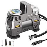 Foxnovo Air Compressor Pump, Digital Tire Inflator 150 PSI DC 12V Low Noise Tire Air Compressor Portable with Larger Air Flow 35L/Min, LED Light, Overheat Protection, Extra Nozzle Adaptors and Fuse