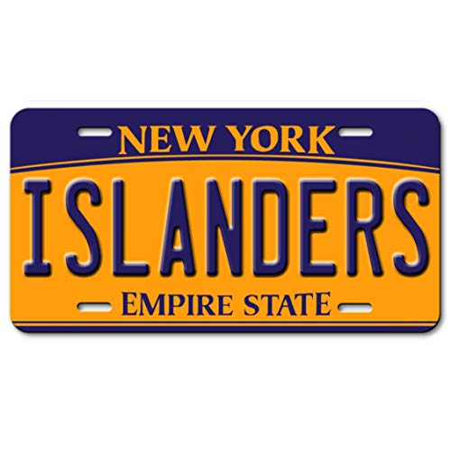 Voss Collectables New York Personalized Name Aluminum Car Vanity License Plate Tag Gold Blue, Islanders