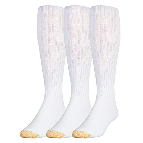 Gold Toe Men's Ultra Tec Performance Over The Calf Athletic Socks, 3-Pack, White, Shoe Size: 6-12.5