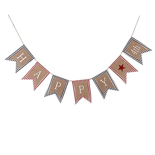 (GOER Happy 4th of July Banner,No DIY Required Natural Burlap and Cotton Independence Day Decorations Fourth of July Party Supplies,Total Length 86.6)