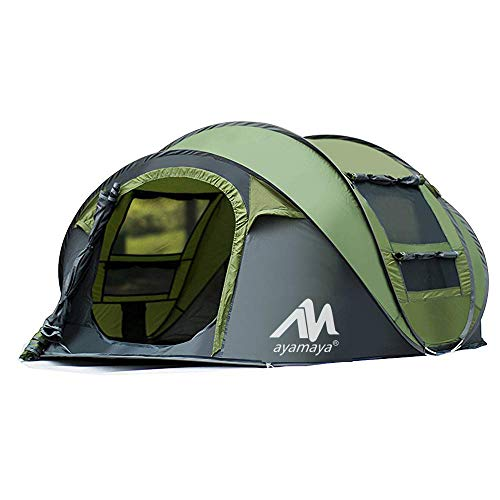 AYAMAYA Tents 3-4 Person/People/Man Instant Pop Up Easy Quick Setup, Ventilated [2 Door] [Mesh Window] Waterproof 4 Season Big Family Privacy Dome Tent Shelter for Backpacking Picnic Travel