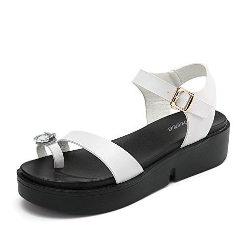 LIXIONG Portátil Sandalias planas gruesas de las sandalias inferiores gruesas del estudiante del verano de los 5cm (blanco / negro) -Zapatos de moda ( Color : Blanco , Tamaño : EU36/UK4/CN36 ) Blanco