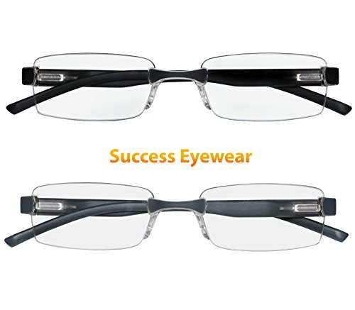 Reading Glasses Set of 2 Rimless Ultra Lightweight Comfort Glasses for Reading for Men and Women (Ultra Light Reading Glasses)