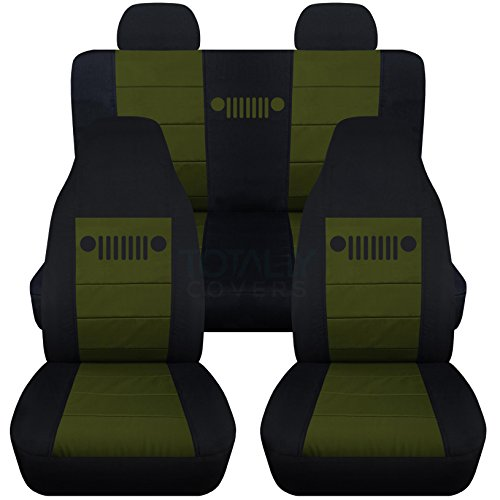 Totally Covers Fits 2002-2007 Jeep Liberty Seat Covers with Molded/Adjustable Front & Rear Headrests: Black & Hunter Green - Full Set (23 Colors) Split Bench Bucket 2003 2004 2005 2006 SUV ()