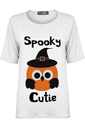 Damen Halloween Top Gespenstisch Cutie Damen Übergröße Baggy Rundhals  Dehnbar Flügelärmel T-Shirt - Weiß