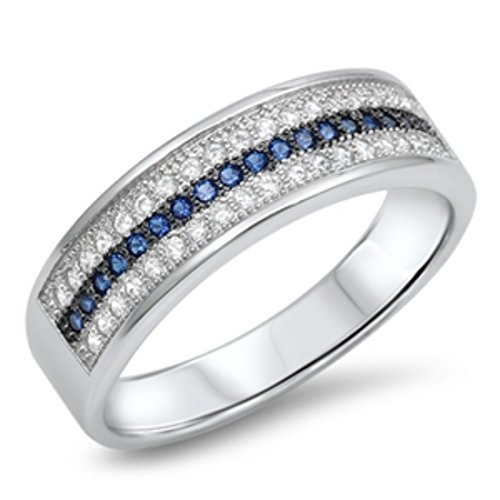 7mm Half Eternity Unisex 3 Row Band Ring Round Simulated Sapphire Cubic Zirconia 925 Sterling Silver 5-10