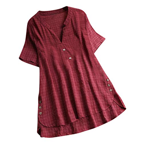 iPOGP Fashion Women Short Sleeve Kaftan Loose Baggy Button Cotton Linen Summer Casual Soild Tunic Blouse Girl Fashion (Wine,XL)