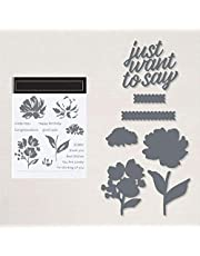 Embossing Rectangle Frame Flowers Leaves Dies and Stamp Sets for Card Making Just Want to Say Words Alphabets Die Cuts for DIY Scrapbooking Paper Crafting I Miss You,Happy Birthday Clear Rubber Stamp